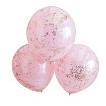 roze ballonnen dubbel gelaagd met rosé gouden confetti