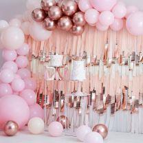 Grote luxe ballonnenboog lichtroze en rosé goud chroom Ginger Ray