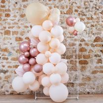 Ballonnenboog Pampas, wit, peach en rosé goud chroom