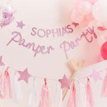 Roze Glitter Slinger met naam Pamper Party