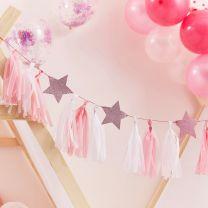 Tassel slinger roze met glitter sterren