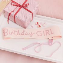 Roze glitter Birthday Girl sjerp