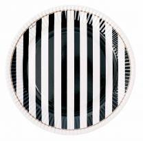 Papieren bordjes zwart & wit gestreept
