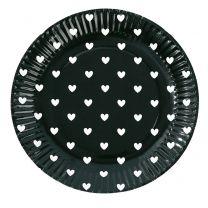 Papieren bordjes zwart met witte hartjes
