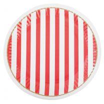 Papieren bordjes rood & wit gestreept