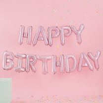 Happy Birthday ballonnen slinger roze
