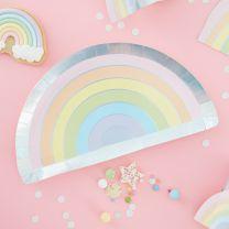 Regenboog bordjes Pastel Party