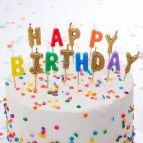 Happy Birthday kaarsjes Regenboog en Goud glitter