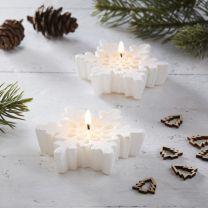 Witte sneeuwvlok glitter kaarsjes