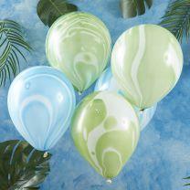 Marmer ballonnen groen en blauw