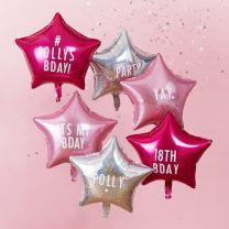 Sterren Folie ballonnen roze 6 st