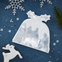 Zilver folie Christmas pudding servetten
