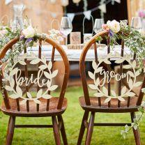 Houten stoelborden Bride en Groom