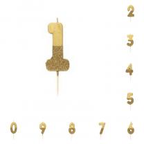 Taart Cijfer Kaarsjes Goud met goud Glitter