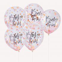 Baby girl confetti ballonnen roze en rose goud