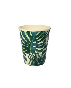 Wegwerp bordjes met palmbladeren dessin. Tropical Fiesta Talking Talbles