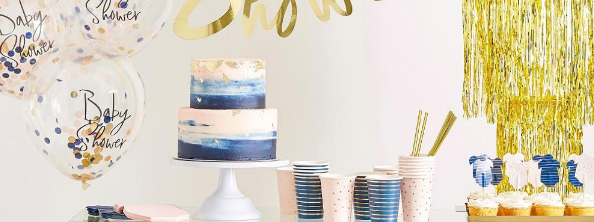 Gender reveal babyshower pink navy gold