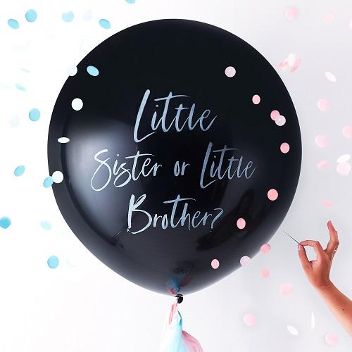 Little brother or sister gender reveal ballon