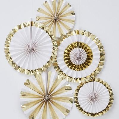 Papieren waaiers wit met goud