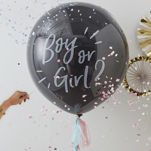 Boy or girl gender reveal ballon